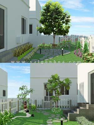 Sân vườn biệt thự nhà Chị Giang