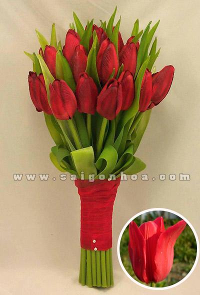 bo hoa tulip mau do