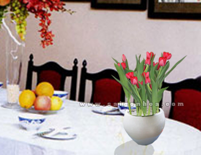 cach trang tri hoa tulip ngay tet