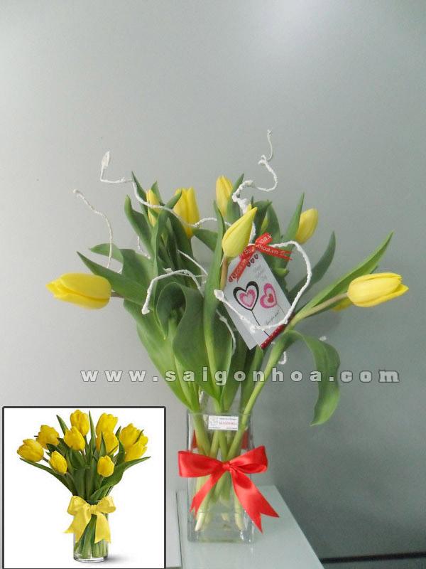 Hoa Tulip Mau Vang Chau Thuy Tinh