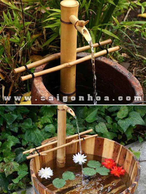 Tieu Canh Nuoc Ong Tre Va Lu Cho San Vuon