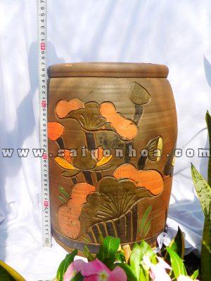 Chậu Gốm Đỏ-Chậu Đất Nung Hoa Văn Nổi Cao 36cm