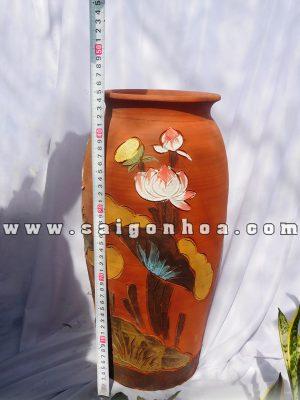 Chậu Gốm Đỏ-Chậu Đất Nung Hoa Văn Nổi Cao 45cm