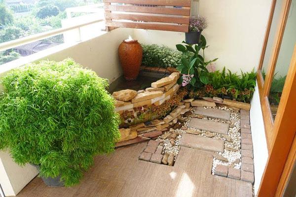 Tiểu cảnh sân vườn trên ban công