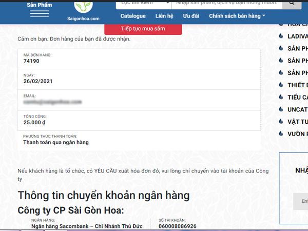 Xac Nhan Mua Hang Sai Gon Hoa