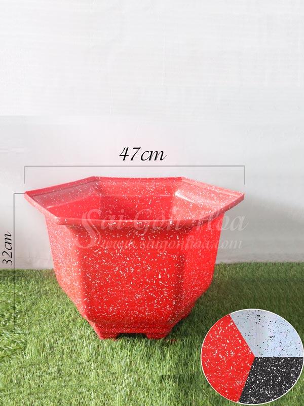 Chậu Nhựa Lục Giác Vân Đá